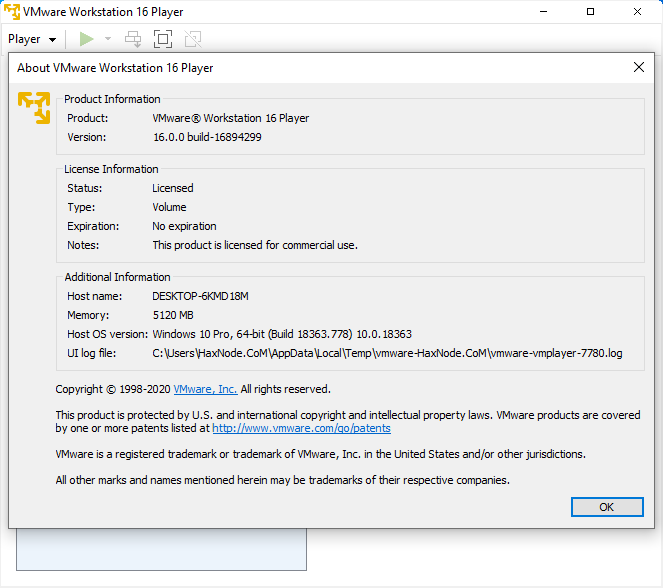 vmwareworkstatinplayer16.0.0